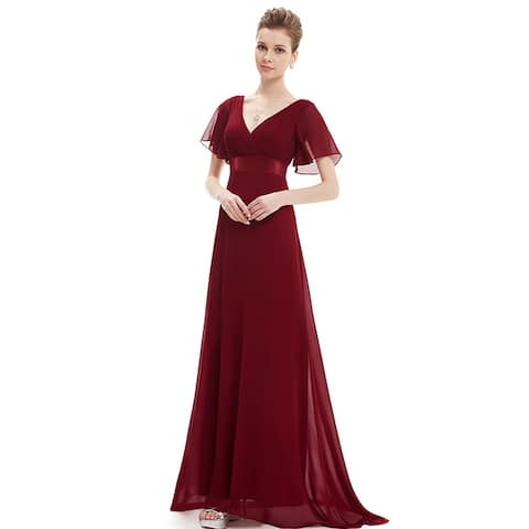 f0889aac Ever-Pretty Womens Elegant V-Neck Ruched Chiffon Formal Evening Prom Party  Dress 09890