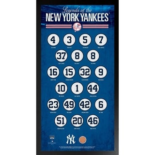 New York Yankees Retirement with Blue Background Framed 16x32 Photo Collagew Authentic Yankee Stadi