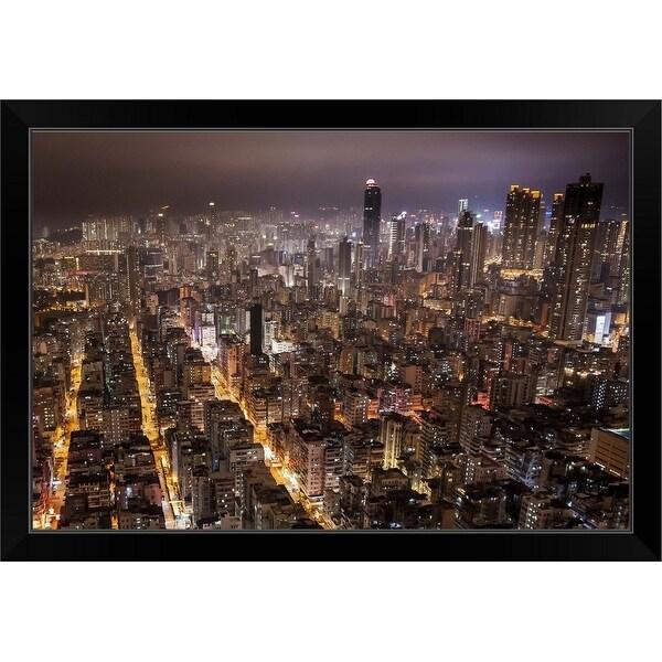 """""""Night view of Kowloon, Hong Kong."""" Black Framed Print"""