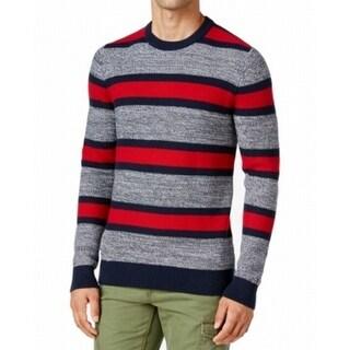 Tommy Hilfiger NEW Gray Red Mens Medium M Stripe Knit Crewneck Sweater