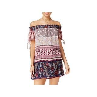 Speechless Womens Juniors Casual Dress Sheer Floral Print
