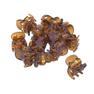 Unique Bargains 6 Pair Brown Clear Plastic Hairclip Hair Clamp Claw Clip for Ladies