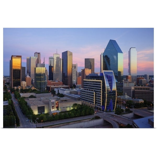 """Dallas skyline at dusk, Texas"" Poster Print"