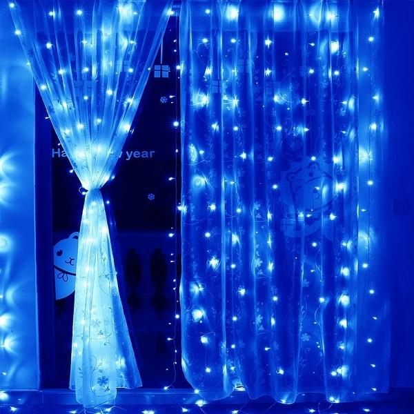 9.8ft x 9.8ft LED Window Curtain Light, 8 Modes Phantom Blue Icicles Starry Christmas String Lights