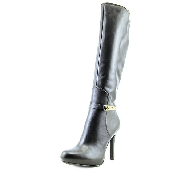 Alfani Jaymee Women Round Toe Leather Black Knee High Boot