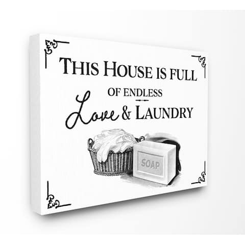 Stupell Industries Endless Love And Laundry Bathroom Word Design Canvas Wall Art