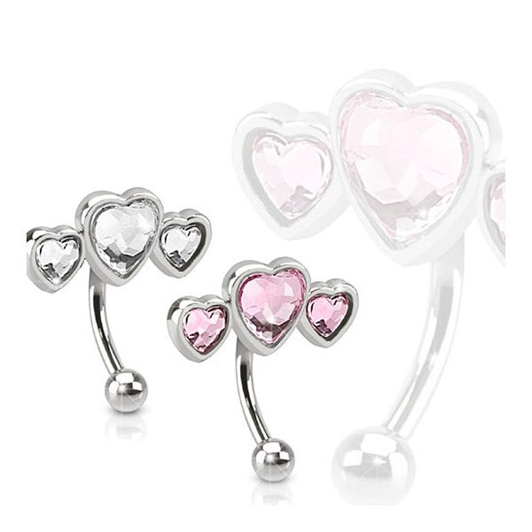 Triple Heart 316L Surgical Steel Eyebrow Curve with Paved Heart Shaped CZs (Sold Ind.)
