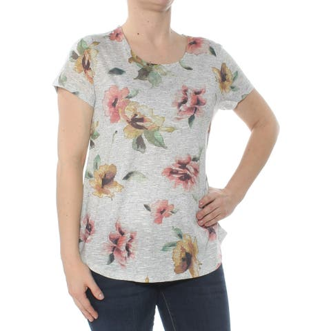 STYLE & CO Womens Gray Floral Graphic Print Short Sleeve Top Size S