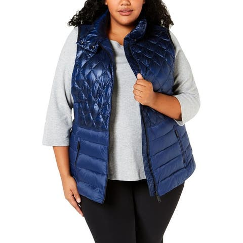 Calvin Klein Performance Womens Plus Outerwear Vest Fall/Winter Down Fill