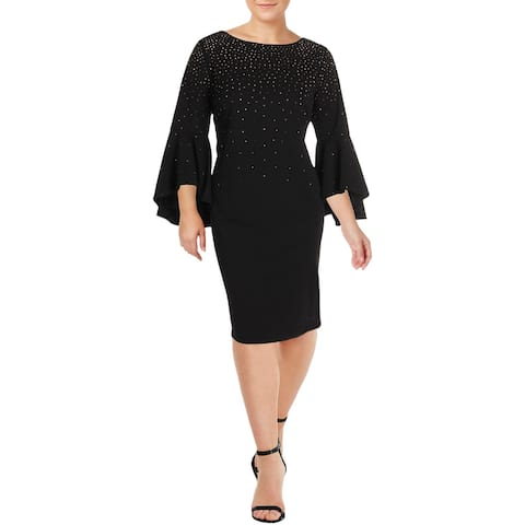 Calvin Klein Womens Plus Cocktail Dress Studded Bell Sleeves