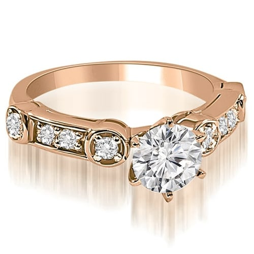 0.75 cttw. 14K Rose Gold Vintage Style Round Cut Diamond Engagement Ring