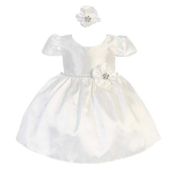 Baby Girls White Poly Shantung Glitter Waist Headband Flower Girl Dress