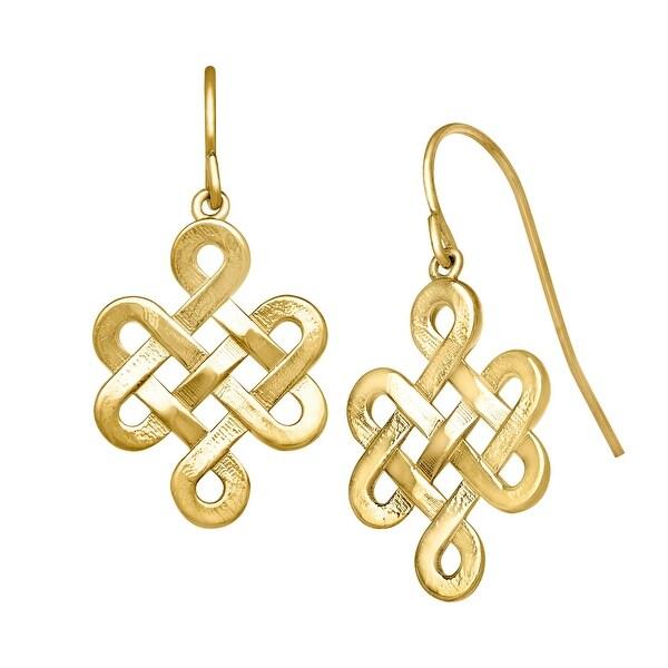Just Gold Longevity Knot Drop Earrings in 10K Yellow Gold