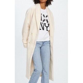 Nikki Chasin NEW White Ivory Women Size Medium M Shawl Collar Wool Coat