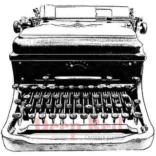 """Deep Red Cling Stamp 2.75""""X3""""-Classic Typewriter"""