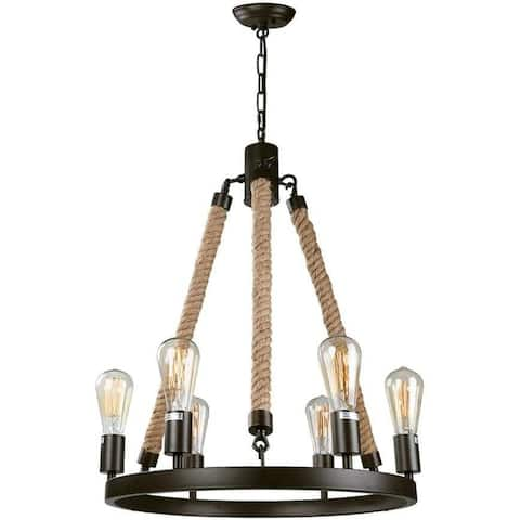 6 lights hemp rope chandelier vintage edison pendant lamp light