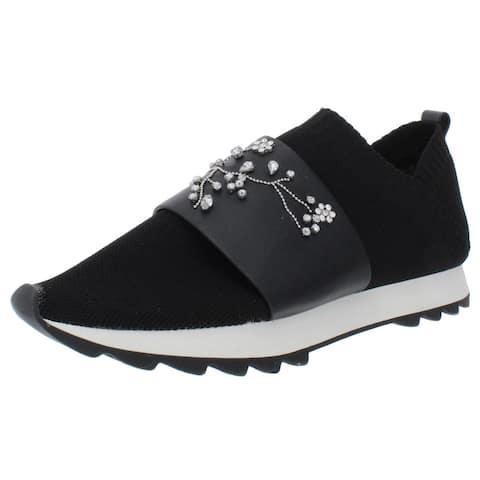 Nanette Lepore Womens Lourie Fashion Sneakers Knit Rhinestone