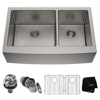 KRAUS Standart PRO Stainless Steel 36 in 2-Bowl Farmhouse Kitchen Sink