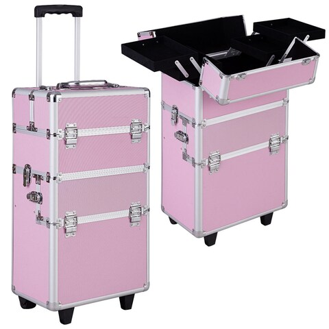 Gymax Pink Aluminum Rolling Makeup Case Salon Cosmetic Organizer Trolley Train Case