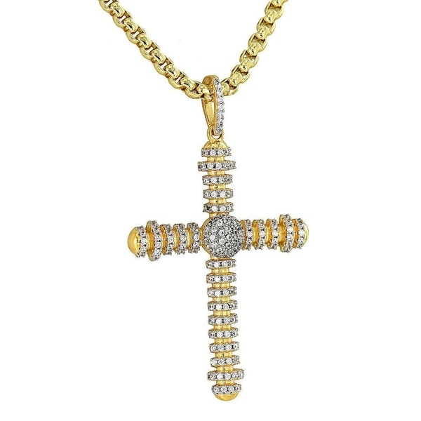 "Mens Custom Made Pendant Designer Cross Lab Diamonds 24"" Box Necklace On Sale"