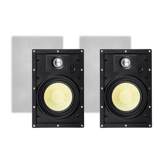 Monoprice In-Wall 2 Way Speakers - 6.5 Inch (pair) With Snap-Lock, Aramid Fiber And Titanium Silk Drivers - Caliber Slim Series