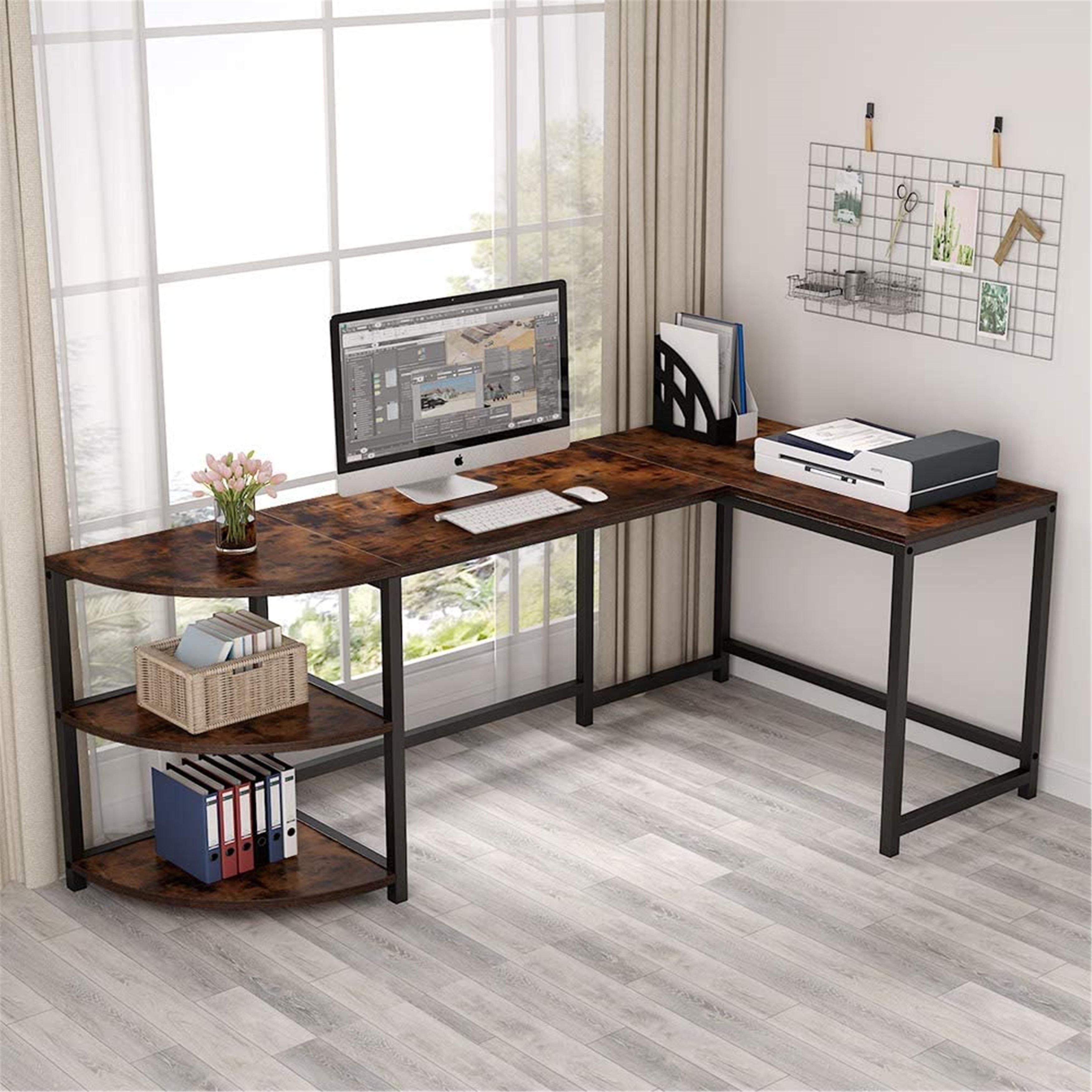 Picture of: 74 Inch L Shaped Computer Desk With Corner Shelf Corner Desk Brown Overstock 31832095