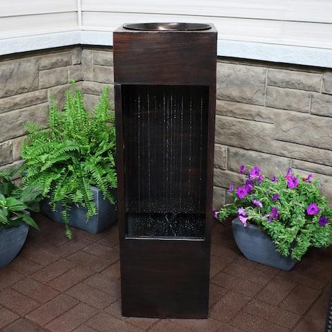 "Tranquil Rain Shower Metal Outdoor Water Fountain 39"" Garden Feature"