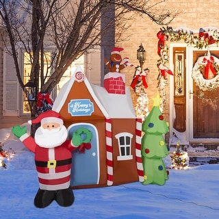 Link to Kinbor 6Ft Christmas Inflatable, Santa Gingerbread House w/ Christmas Tree, Shrifting LED Lights Blow Up Holiday Yard Decoration Similar Items in Christmas Decorations