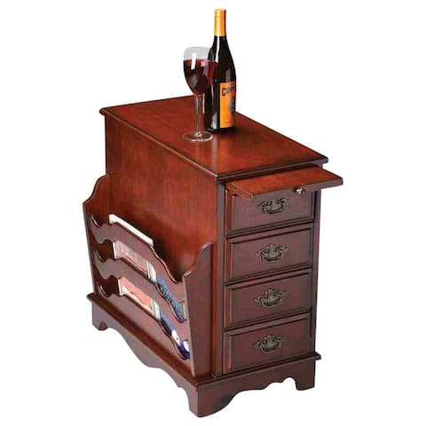 Traditional Rectangular Wooden Magazine Table in Plantation Cherry Finish - Dark Brown