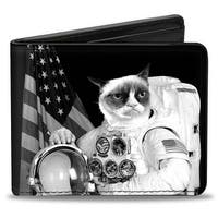 Astronaut Grumpy Cat Black White Bi Fold Wallet - One Size Fits most