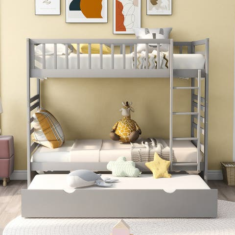 Twin Bunk Beds for Kids with Safety Rail and Movable Trundle bed Grey