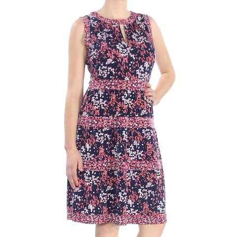 46a9bbd1c MICHAEL KORS Womens Pink Printed Sleeveless Keyhole Knee Length Dress Size:  M