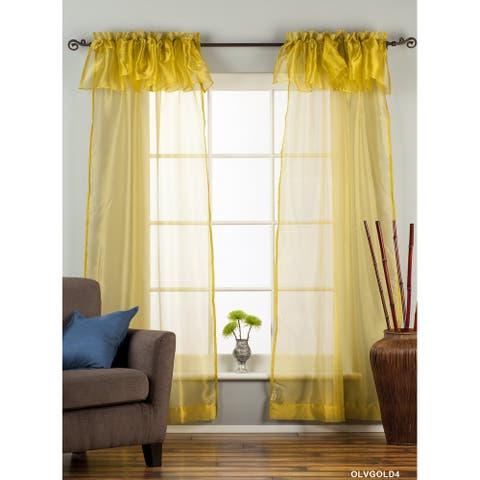 "Olive Gold Rod Pocket w/ attached Valance Sheer Tissue Curtain/ /Panel-84""-Piece - 43 X 84 Inches (109 X 213 Cms)"
