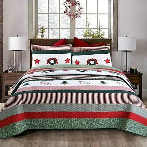 Cozy Line Christmas Rustic 3-Piece Quilt Bedding Set