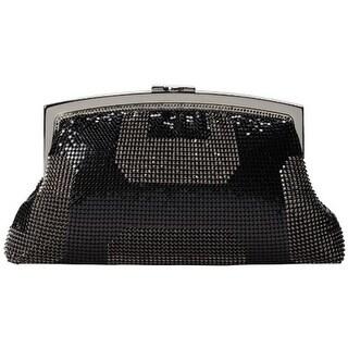 Whiting & Davis Womens Geo Metal Mesh Evening Clutch Handbag - Black - Small