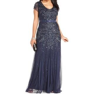Adrianna Papell Womens Plus Evening Dress Embellished V Neck