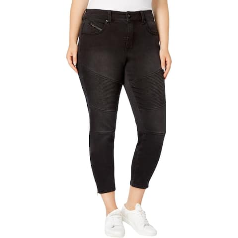 Seven7 Womens Plus Pencil Jeans Ribbed Slimming Silhouette