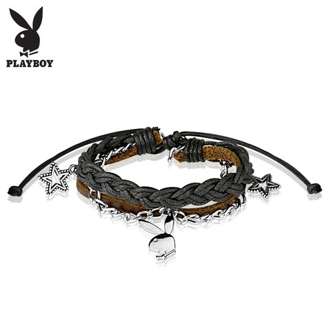 """Playboy Bunny Charm Leather and Brass Bracelet - 8"""" (Sold Ind.)"""