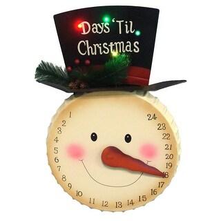 """20"""" LED Lighted """"Days 'Til Christmas"""" Snowman Face Countdown Advent Calendar"""