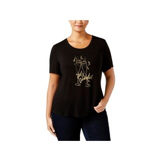 NY Collection Womens Plus T-Shirt Graphic Metallic