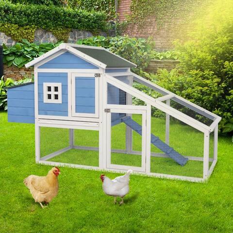 """69"""" Wooden Chicken Hutch Hen Coop Habitat Pigeon House - Blue & White"""