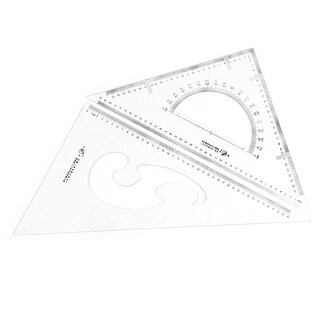 Unique BargainsPlastic Drafting Drawing Tool Right Angle Triangle Ruler Combo Protractor 2 in 1
