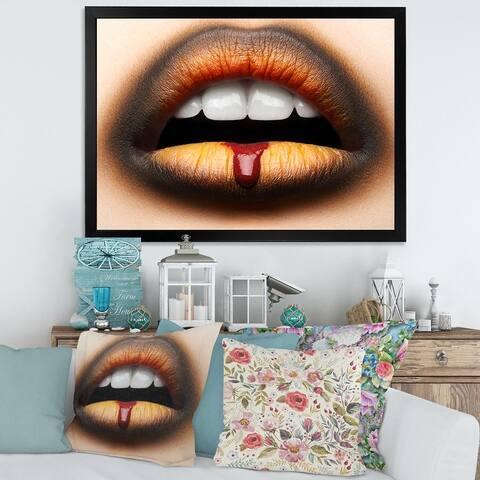 Designart 'Female Lips With Black & Orange Lipstick' Modern Framed Art Print