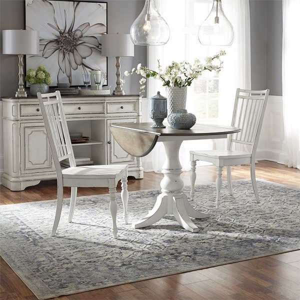 Magnolia Manor Antique White Optional 3-piece Drop Leaf Table Set. Opens flyout.