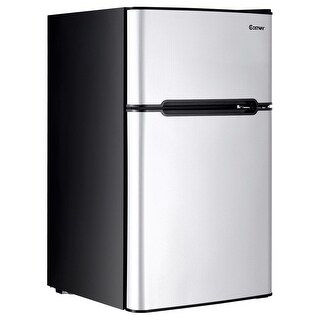 Costway Stainless Steel Refrigerator Small Freezer Cooler Fridge Compact 3.2 cu ft. Unit - gray