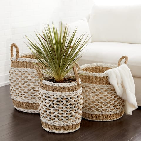Brown Plastic Vintage Storage Basket (Set of 3)