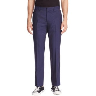 Theory Marlo Trevino Slim Fit Check Flat Front Dress Pants Eclipse Blue (Option: 28 Inch)