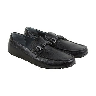 Calvin Klein Ignacio Mens Black Leather Casual Dress Slip On Loafers Shoes