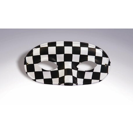 Black& White Checkered Domino Costume Eye Mask Adult Standard - Black