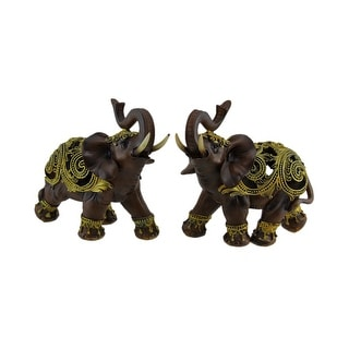 Exotic Brown Wood Look Gold Decorated 2 Piece Trunk Up Elephant Statue Set - 7.5 X 8.5 X 3.5 inches
